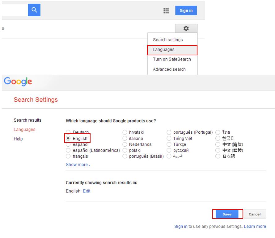 미국 구글접속 언어 변경